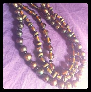 Vintage glass and wood bead 3 strand necklace